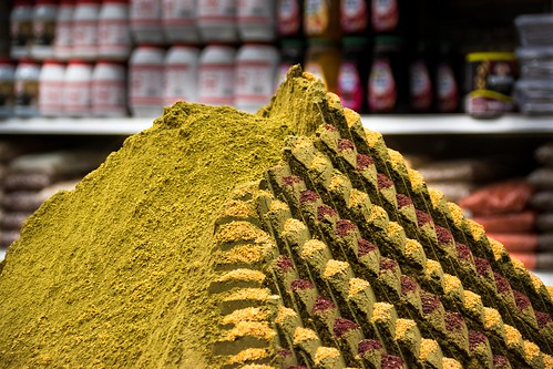 Spices at a market in Jerusalem's Old City.