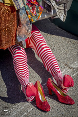 Found: Wicked Witch of the East (allentimothy1947) Tags: yellow califonia clothing flea market humor mannequin other keywords santa roaa wicked witch east wizzard oz display fantacy funny leggings pavement red ruby slippers shoes stockings story striped under white
