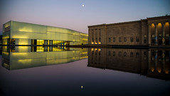 Convergence (KC Mike Day) Tags: together convergence collide building museum art atkins nelson missouri still reflection evening dusk moon full canon 24105 f4