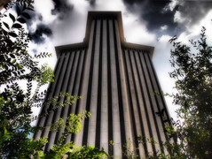 New Orleans World Trade Center Building (Rigamer) Tags: neworleans nola worldtradecenter building architecture city urban trees bushes concrete louisiana canalstreet wtc street frenchquarter cbd downtownneworleans neworleanscbd clouds photography photo photoshop digitalart