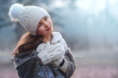 cold January (agirygula) Tags: blue turkis tyrkis winter january cold portrait girl child childhood children magic light magical scarf
