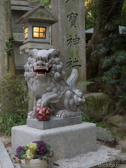 Temple lion (David R. Crowe) Tags: animal building cats felidae lamp lantern light lightsource mammal mechanism nature pillar technology temple writing kyoto japan