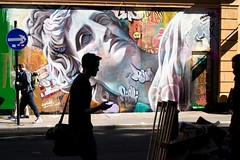 Street photography - Soho, London (Linda Wisdom) Tags: soho london streetphotography streetart silhouttes colour color street photo sun shadows lindawisdom wwwlindawisdomphotographycouk candid grafitti uk shade