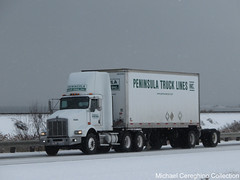 Peninsula Truck Lines Kenworth T800, Truck# 2120 (Michael Cereghino (Avsfan118)) Tags: peninsula truck line lines kw kenworth t800 t 800 dacyab tandem axle twin screw pup trailer trucking winter scenery road