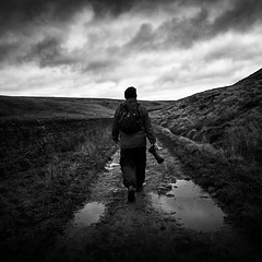 Trev (Missy Jussy) Tags: gloomy cold moody britishweather weather puddle water readycondeanreservoir newyear 2019 january wall trevorkerr trev photographer walk walkinglandscape man hills sky clouds camera path mono monochrome moodylandscape moors blackwhite bw blackandwhite 24mm ef24mmf28 canon5dmarkll canon5d canoneos5dmarkii canon