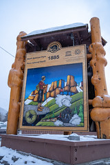 Banff, Alberta Canada - Jan 21, 2019: Informational sign for Banff National Park, a Unesco World Heritage Site, during the winter (m01229) Tags: welcome calm peaceful nature frost destination snow trees national panoramic banff canada bowvalley canadianrockies valley landscape winter rocky mountains outdoor travel scenic rockies clouds banffnationalpark canadian informational scenery beautiful highway forest alberta mountain river park sign tourism wilderness snowing
