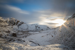 Looking down from Rhosydd Quarry to Cwmorthin (chrisellis211) Tags: rhosydd cwmorthin tanygrisiau ffestiniog blaenauffestiniog blaenau snow snowdonia wales northwales canon 80d winter sunrise clouds sky slate quarry
