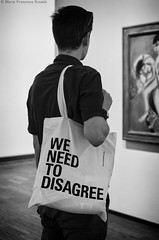 """We need to disagree"" & Kirchner _IGP8812_cr_ps_bnw_w (shammuramat (on/off sorry, be bk soon)) Tags: zweiakteimraum kirchner right disagree rights bag message art painting albertinamuseum albertina museum wien vienna austria pentaxk01 pentax pentax4028xs pentaxian indoor people street streetphotography"