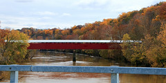 Williams Covered Bridge over White River and Autumn Color- Southwestern Lawrence County, Indiana (danjdavis) Tags: williamscoveredbridge coveredbridge oldbridge historicbridge whiteriver lawrencecounty indiana autumncolor fallcolor