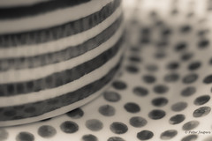 Dots & Stripes (Peter Jaspers (sorry less time to comment)) Tags: frompeterj© 2018 olympus zuiko omd em10 1240mm28 macro macromondays dotsandstripes dots stripes bw bn monochrome zwartwit home crockery dof bokeh