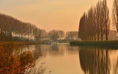 'The river' (jean-paul Falempin) Tags: rivière reflets arbres crépuscule bateau automne