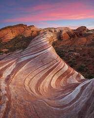 Fire Wave (Bereno DMD) Tags: fire valleyoffire firewave wave lines line curve curves rock red orange layer layers landscape landscapes sunset soft glow glowing longexposure longshutter panoramic pan pano panorama nikon nikond850 d850 detail focus focusstack geology erosion erode desert southwest nevada nature wild wilderness