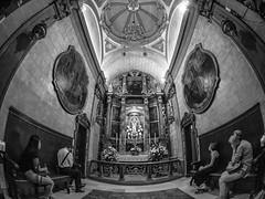 A side chaple, Notre Dame De La Gard Basilica, Marseilles (All I want for Christmas is a Leica) Tags: panasoniclumixgf6 panasoniclumix notredamedelagarde marseille fisheye samyang75mmfisheye france monochrome church