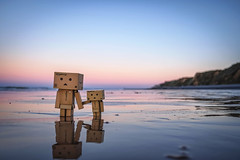 Two's company. (Matt_Briston) Tags: danbo sheringham beach sand water robots coast norfolk matt cooper fuji x70