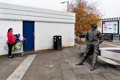 Bridgend Shopping (stevedexteruk) Tags: bridgend shopping centre trolley statue 2018 wales