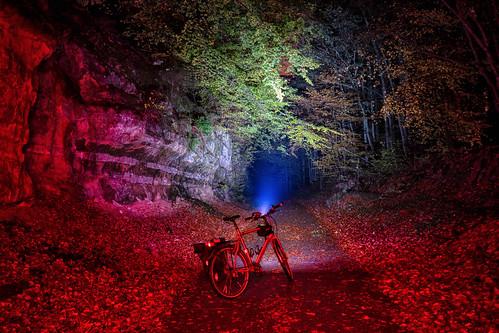 Piste cyclable de l'Attert between Eischen and Steinfort at night