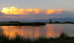 Birthday Sunset (Patricia Henschen) Tags: sunset mountain mountains cloud clouds blancavista park sangredecristo reflection wetland town alamosa colorado countryside rural lake pond catchycolors