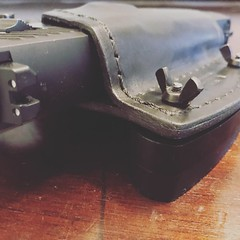 Desk Mounted Car Holster (americanleathersmith) Tags: carholster leatherholster gunholster concealcarry holster mounted leather