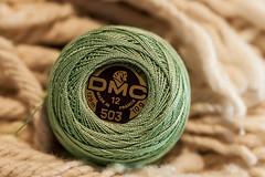 Macro Mondays 2018 Redux (mimsjodi) Tags: green thread embroiderythread perlecotton macro macromonday challenge dmc hmm