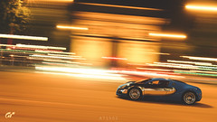 Bugatti Veyron (at1503) Tags: bugatti veyron bugattiveyron frenchcar france paris lights night motion blur movement speed reflections orange yellow arch street car supercar urban gtsport granturismo granturismosport motorsport racing game gaming ps4