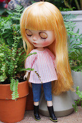 Vintage Ruffle Collar Top (Ylang Garden) Tags: blythe momoko pink stripe top vintage