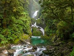 Mackay Falls (lvalgaerts) Tags: pass mackinnon new zealand milford track clinton hut hike rain forest alps southern tramping river great walk south island fiordland waterfall mackay