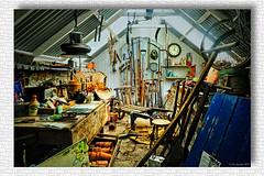 "The ""Potting Shed"" Applecross, Scotland. (The Jacobite) Tags: pottingshed pots garden bench scotland tools barrow wheel greenhouse clock stool rake inside cafe restaurant applecross westerross walledgarden canon teapot jar"