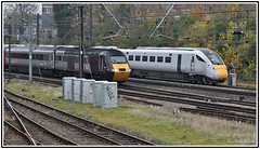side by side - Four Decades Apart (Mark's Train pictures) Tags: azuma ecml holgate holgatejunction hst highspeedtrain express 43301 800201 hitachiazuma azumaiep eastcoastmainline iep 5q20 1v50 intercity125 class43