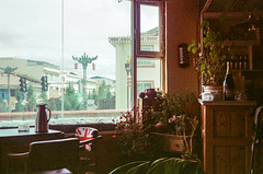 Corner of Tibetan Tea House (hiphopmilk) Tags: copyright©jaredyehwooehmoehfilms konica offroad 現場監督 zoom 35mm 135film film analog analogue jaredyeh hiphopmilk kodak travel china sichuan aba hongyuan tibetan qiongxi teahouse cafe coffeeshop decoration plants window