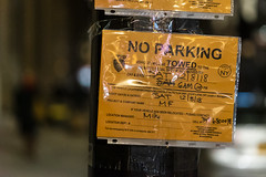 Filming everywhere now. There are other cities, go film them, eh? (wwward0) Tags: cc fidi filmshoot financialdistrict manhattan night noparking nyc outdoor text warning wwward0