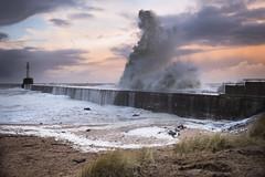 The Serpent (Brian D 1960) Tags: winterstorm high storm aberdeen d750 nikon sand beach sky water pier lighthouse harbour wave ocean sea northsea