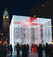 The Gift (Dalliance with Light (Andy Farmer)) Tags: lights night cityhall philly hanukkah street sculpture christmas holiday philadelphia pennsylvania unitedstates us