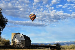 Up, Up and Away (Patricia Henschen) Tags: erie colorado ranch mountain mountains frontrange autumn snow clouds lake morning prince reservoir 2 longspeak balloon hotair barn