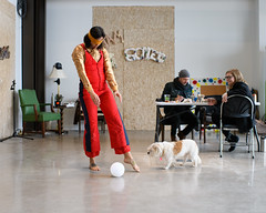Dance?  Telepathy?  Both? (-Dons) Tags: austin texas unitedstates colab dog ball tx usa eastaustinstudiotour east chair blindfold