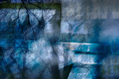 Reflections by the bridge (Ali's view) Tags: icm abstract evening bridge reflections tree carlights multipleexposure