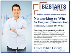 BizStarts Networking to Win (Lester Public Library) Tags: 365libs lesterpubliclibrary librariesandlibrarians lpl library lesterpubliclibrarytworiverswisconsin libraries libslibs tworiverswisconsin libraryprogram libraryprograms business businessstartups bizstartstworivers wisconsinlibraries readdiscoverconnectenrich