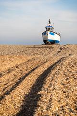 Leading Lines [Explored] (ShrubMonkey (Julian Heritage)) Tags: boat fishingboat tracks shingle beach coast coastal seaside romanymarsh dungeness kent nautical leadinglines