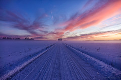 Colours of winter (Joni Mansikka) Tags: nature winter outdoor colours snowy road fields sunset skies clouds mist paimio suomi finland