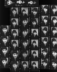 """YT82 contact (hoffman) Tags: vertical elizabethyoung female indoors lizyoung portrait woman artist critic authoress writer deceased style fashion contactsheet davidhoffman wwwhoffmanphotoscom davidhoffmanphotolibrary socialissues reportage stockphotos""""stock photostock photography"""" stockphotographs""""documentarywwwhoffmanphotoscom copyright"""