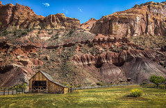 The Barn at Gifford Homestead (donnieking1811) Tags: utah fruita torrey capitolreefnationalpark capitolreef nationalpark park giffordhomestead landscape mountains outdoors sky clouds blue barn fence road tree flowers hdr canon 60d lightroom photomatixpro