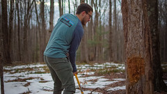 Catching His Breath (sgordon427) Tags: woods axe tree cutting nikon 35mm people person portrait action candid