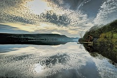 Cotton Candy (vincocamm) Tags: lake water mirror reflection calm still clouds cloudy sun sunny cottoncandy trees house boathouse grass green blue grey white hills fells mountains cumbria lakedistrict nationalpark england english northwest nikon d5500 wide wideangle misty travel holiday waterscape