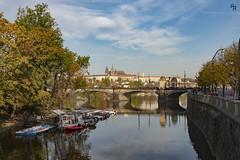October in Prague (Andrea Rizzi Esk) Tags: cityscape river praga prague czech prepublic europe architecture urban city water reflex october orange redo warm sky blue legions bridge castle