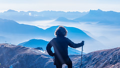 Hiker above the sea of fog (Madpenguin Photo) Tags: post