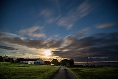 moonrise over country road and green paddock in rural wairarapa (hueymilunz) Tags: longexposure blue night sky clouds colour rural farm green sheep wairarapa nz newzealandtransition newzealand nature landscape moon