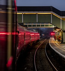 Red reflections: High Speed Train at Bridgend, south Wales (Dai Lygad) Tags: red reflections atnight trains railways railroads hst highspeedtrain bridgend gwr