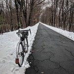 Our Leather Mud Flaps are looking stunning in the snow on @bike_less_ordinary's wintery ride. thumbnail