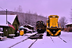 Starting the day in the first snow (cheliman) Tags: oct titusville pa train locomotive mlw alco freight local shortline snow tracks