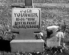 The town of my youth (2) (momentspause) Tags: missouri leessummit blackandwhite cemetery canon5dmkiii canonef1740mmf4l coleyounger grave blackandwhitephotography