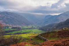 Borrowdale (Rob McC) Tags: borrowdale lakedistrict landscape rural countryside mountains fields trees path clouds sky bracken autumn fall